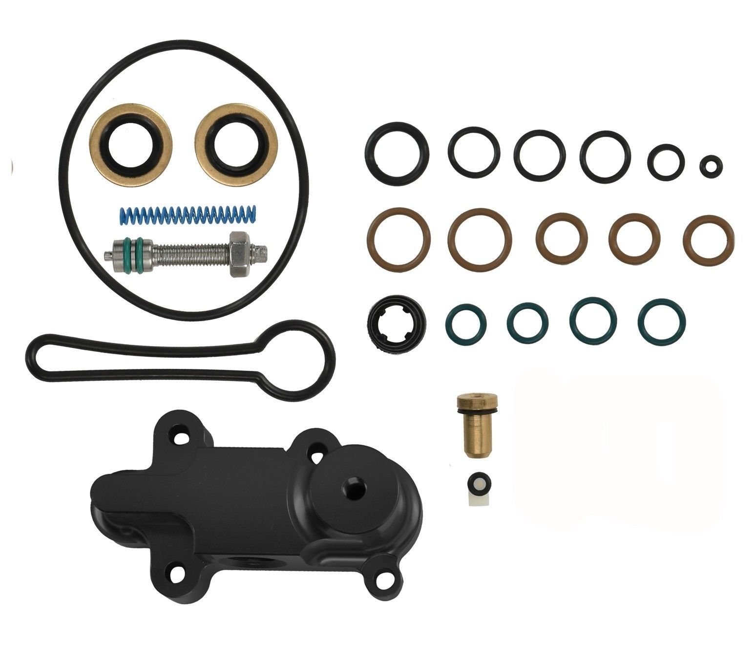 TrackTech Billet Adjustable Fuel Pressure Regulator Housing Kit Black for 6.0L Powerstroke